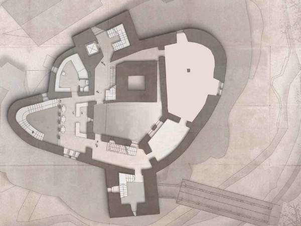 Grundrissgrafik (Quelle: Brückner & Brückner Architekten GmbH) der zweiten Geschoßebene, der große Raum rechts ist ganz Friedrich-Werner Graf von der Schulenburg gewidmet