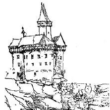 Federzeichnung der Burg Falkenberg um 1620 (Reprofoto aus Doku Dr. Helm)