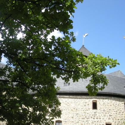 29.8.09_Mit der Burgübergabe weht die Fahne des Marktes Falkenberg auf der Spitze des Turms (Foto: Markt Falkenberg)