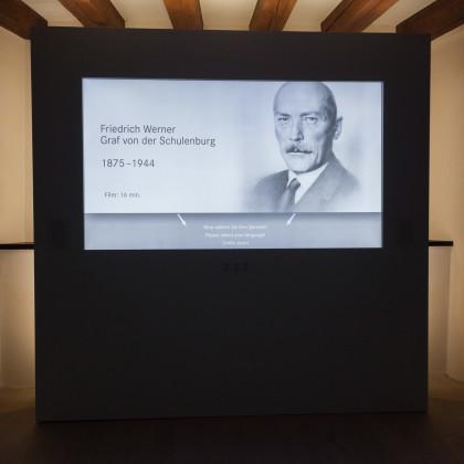 Der mehrsprachig synchronisierte, 15-minütiger Informationsfilm über das Leben Schulenburgs ist eine gute Einstimmung auf den Museumsrundgang. (Foto: Dr. Helm)
