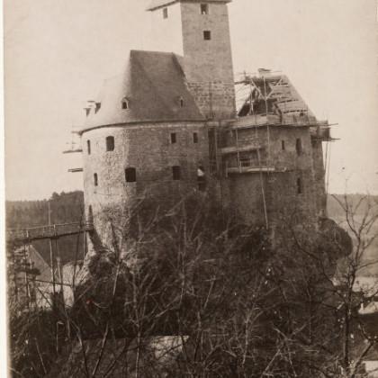Historisches Bild Baustelle Burg