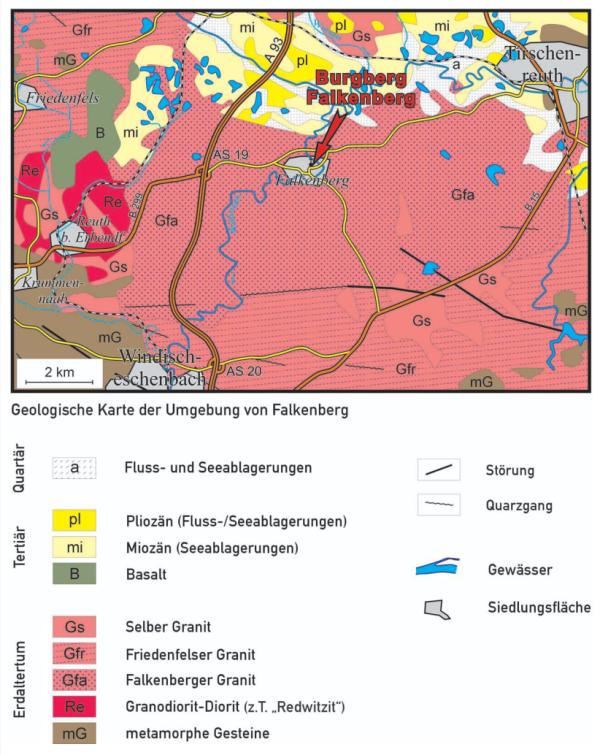 Geologische Karte der Gegend von Falkenberg (Quelle: Bayerisches Landesamt für Umwelt)