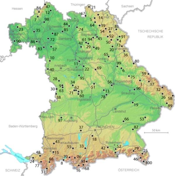 Karte der 100 schönsten Geotope in Bayern (Quelle: Bayerisches Landesamt für Umwelt)